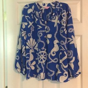 Lilly Pulitzer nautical top in colbalt blue!